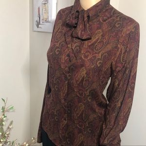 Ralph Lauren paisley top with bow